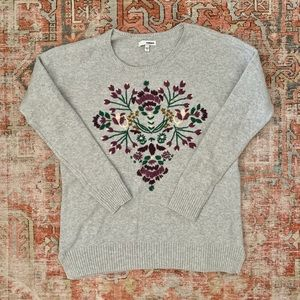 Sonoma Sweater Gray Embroidered Floral Detail